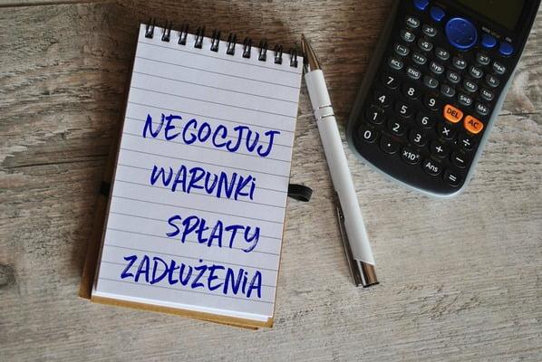 warunki spłaty zadłużenia - notes kalkulator